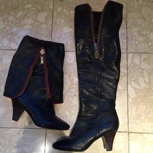 Frye Dannika Zip Black Red Leather 2 in 1 Boot